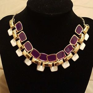 Purple & white goldtone statement necklace